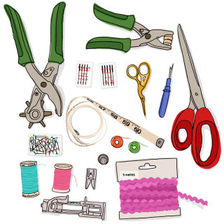 Hand drawn sewing equipment by Claire Rollet