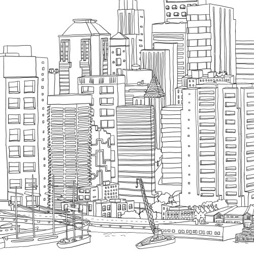 Architectural Illustration of Manhattan Panorama
