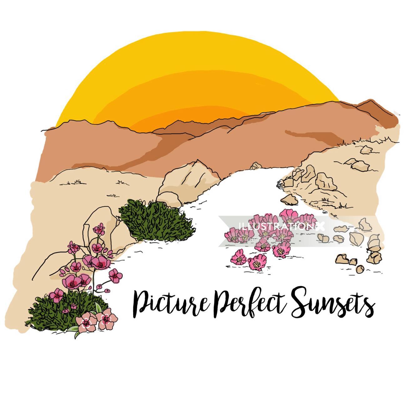 Sunset landscape drawing