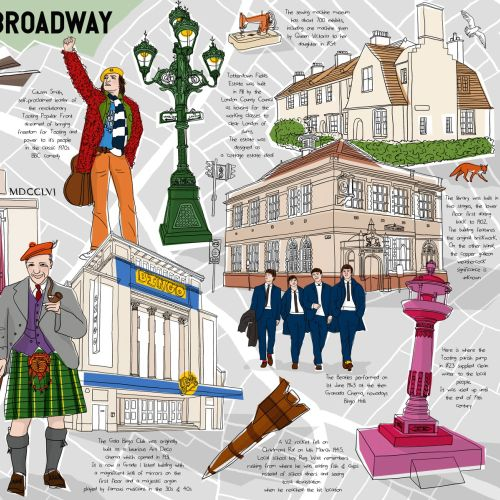 Historical map London Tooting Broadway illustration