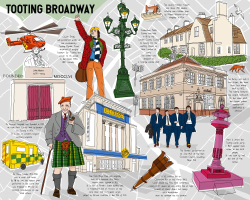 Carte historique de Londres Tooting Broadway illustration