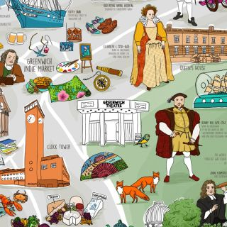 Illustrated map of Greenwich city covering historical references