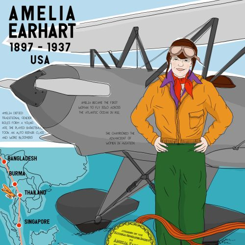 Amelia Earhart trip around the world map
