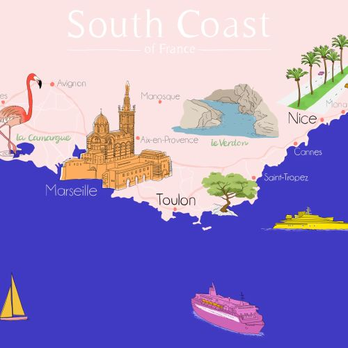 Map illustration of South Coast of France