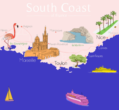 map south coast france