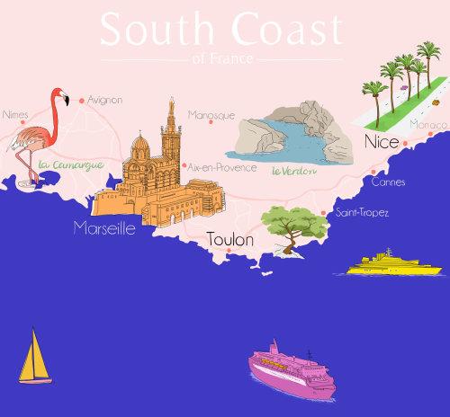 Ilustração do mapa da costa sul da França