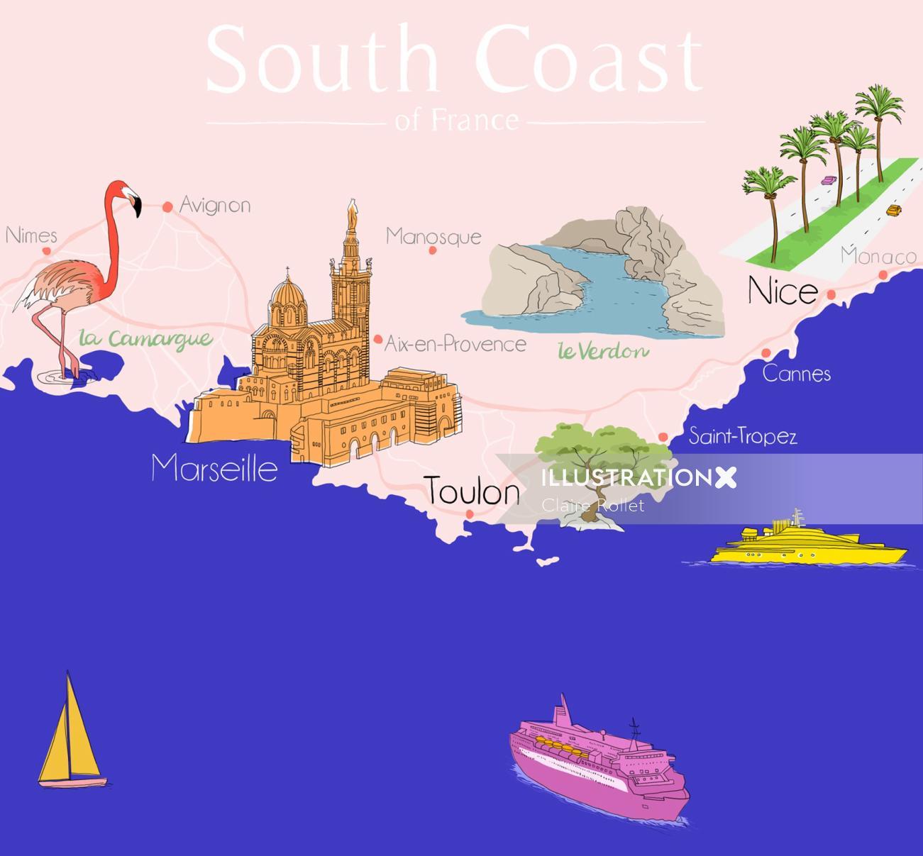 map south coast france