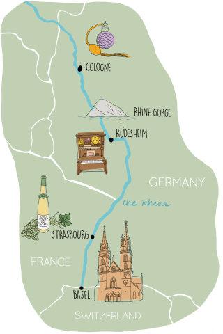 Rhine valley map, basel, cologne, strasbourg