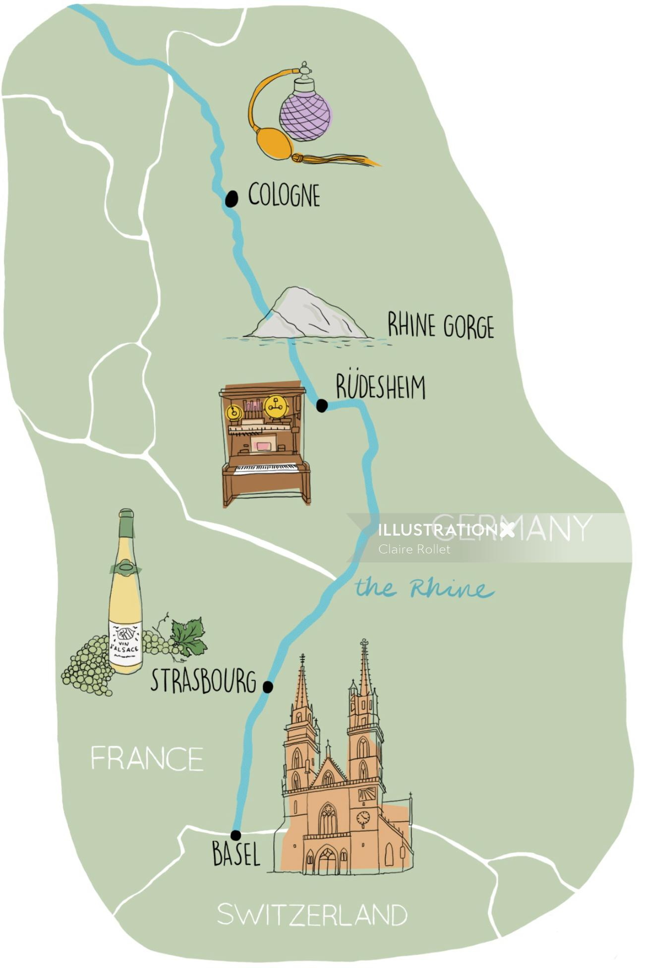 Rhine valley map, basel, cologne, strasbourg