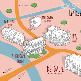 view from above, isometric, amsterdam, map, theatres, ita, pathe, amreican hotel, bellevue, leidsepl
