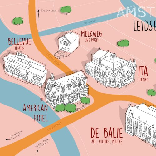 Amsterdam map illustration