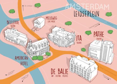 Ilustração do mapa de Amsterdam