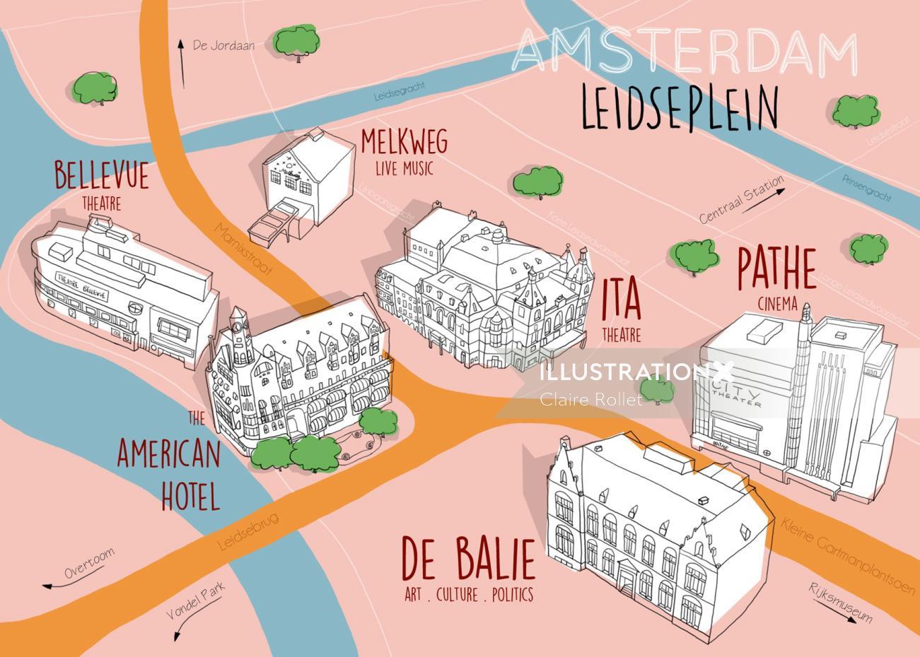 Amsterdam map illustration