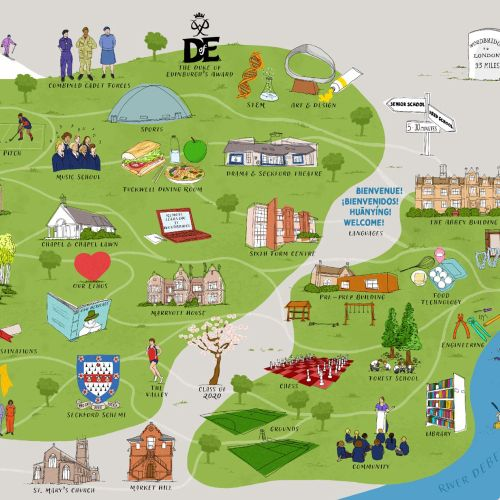 Interactive school map illustration