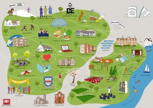 Ilustração do mapa escolar interativo