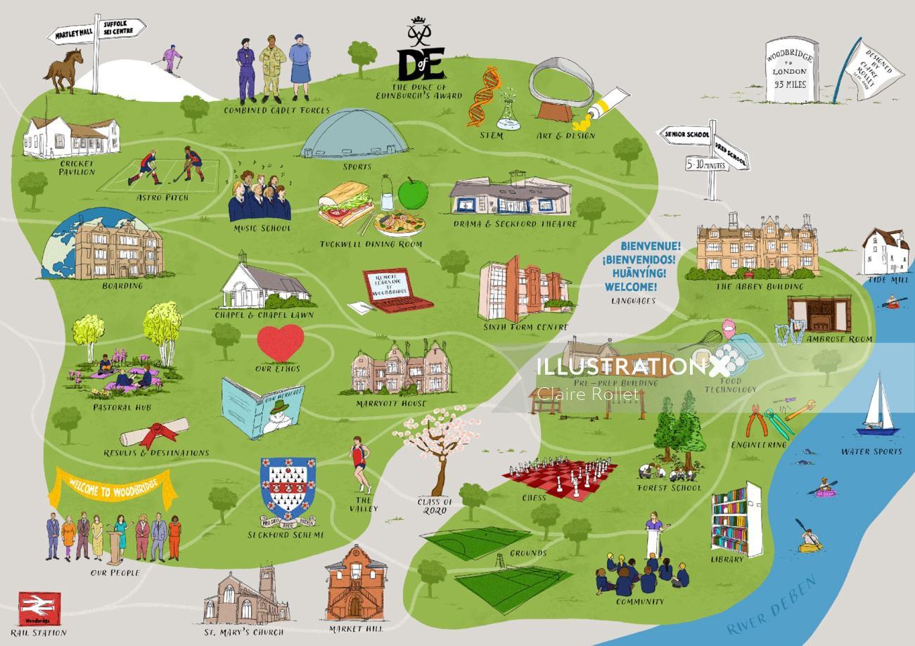 Interactive school map illustration