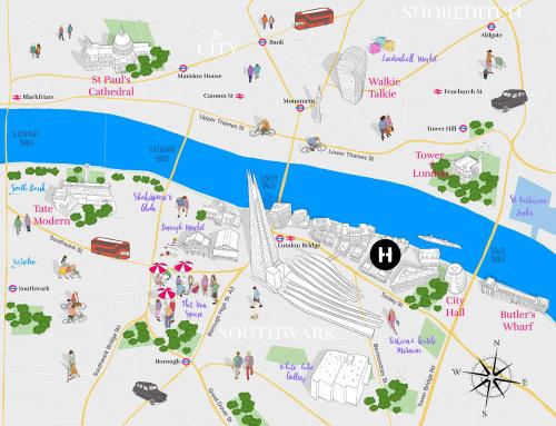 Projeto de mapa para promoção de re-branding da área da rua London Bridge-Tooley