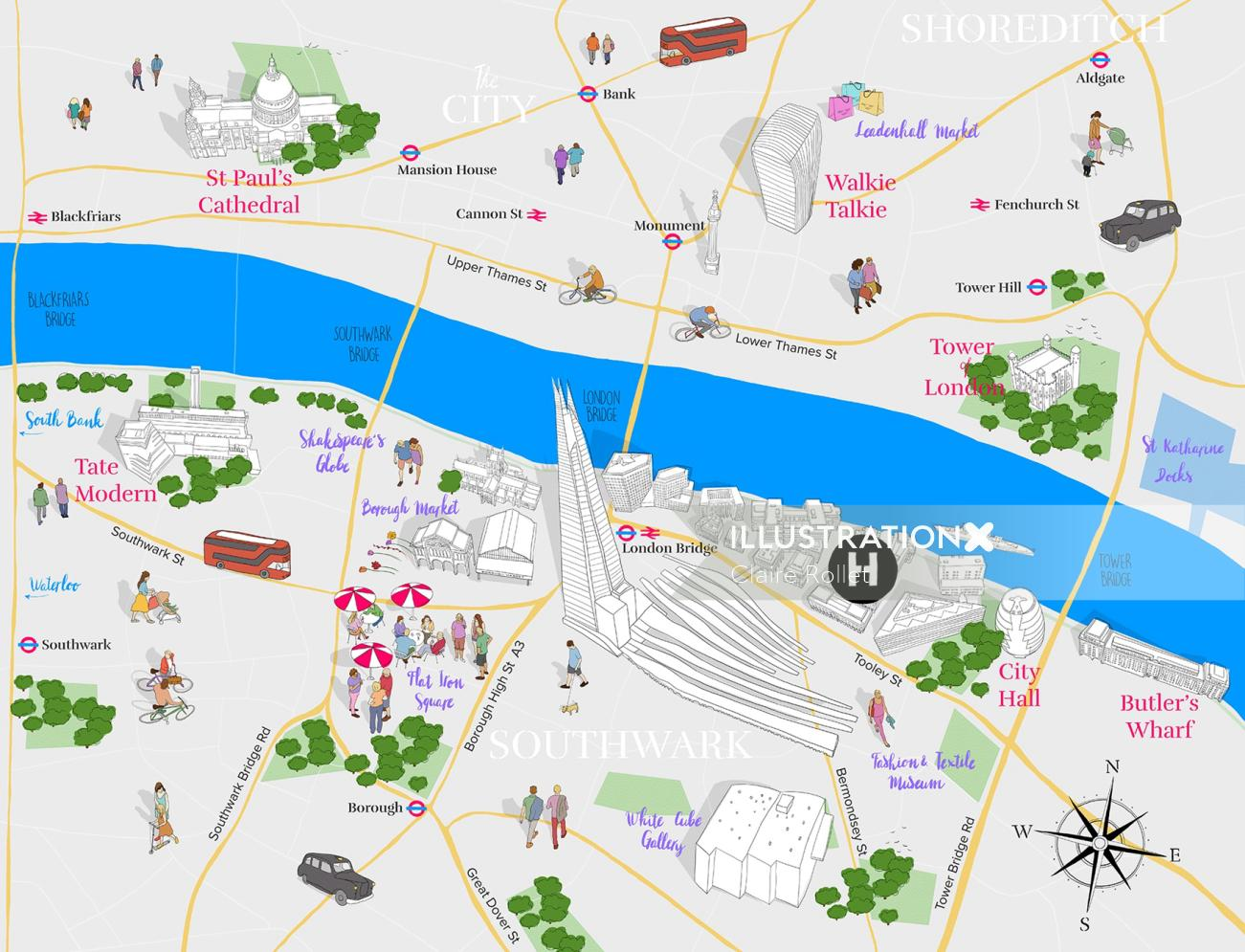 Map design for promotion of re-branding of London Bridge-Tooley street area