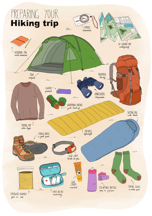 Hiking Trip Objects lettering illustration