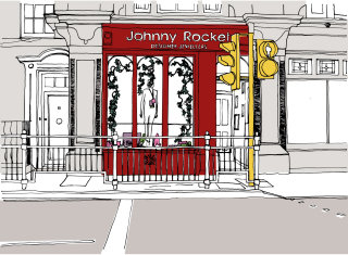 Architectural line drawing by London based illustrator
