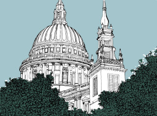 St Paul Cathedral trees London - Illustration by Claire Rollet