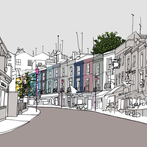 Portobello road illustration by Claire Rollet