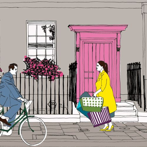 Cyclist man and lady shopper illustration by Claire Rollet