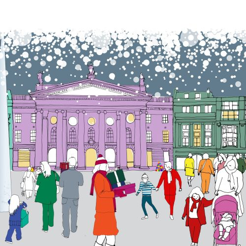 Crowd at O'connell street - Illustration by Claire Rollet