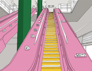 Escalator illustration by Claire Rollet