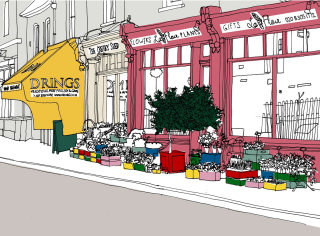 Florist shop at Greenwhich street - Illustration by Claire Rollet