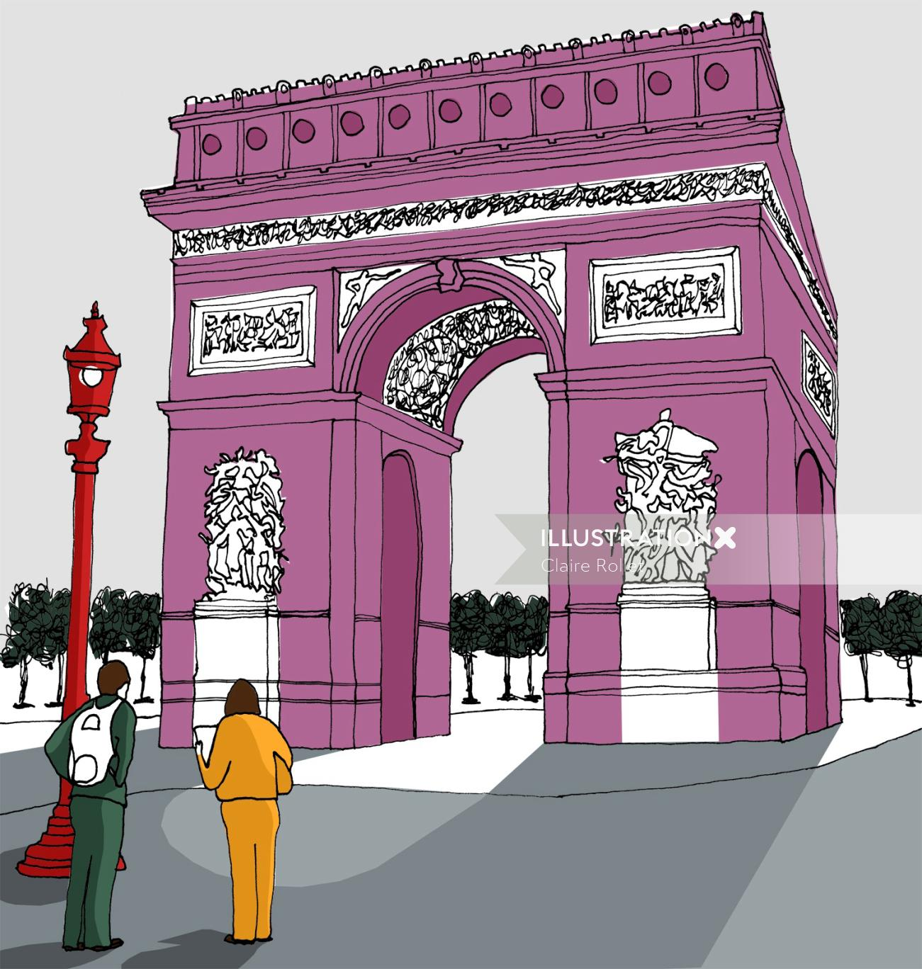 Arc de Triomphe illustration by Claire Rollet