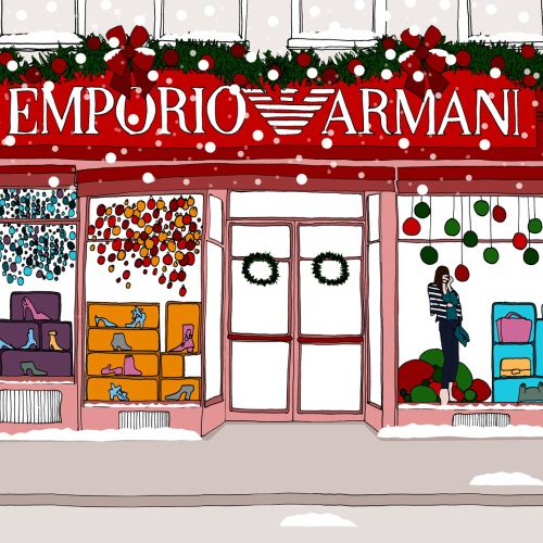 Emporio Armani showroom line illustration