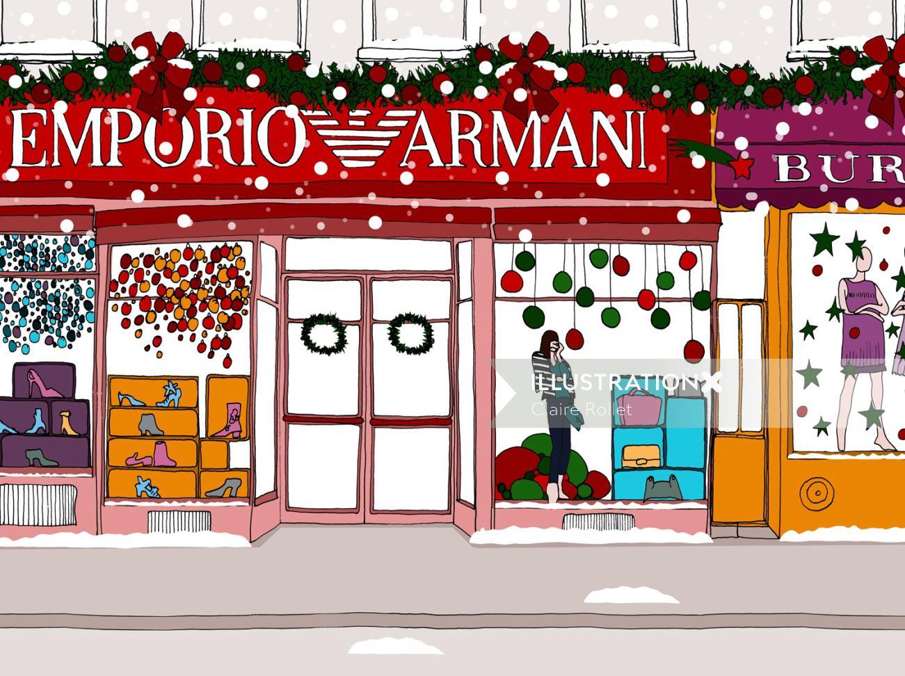Emporio Armani showroom line illustration