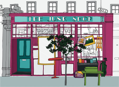 Junk shop illustration by Claire Rollet
