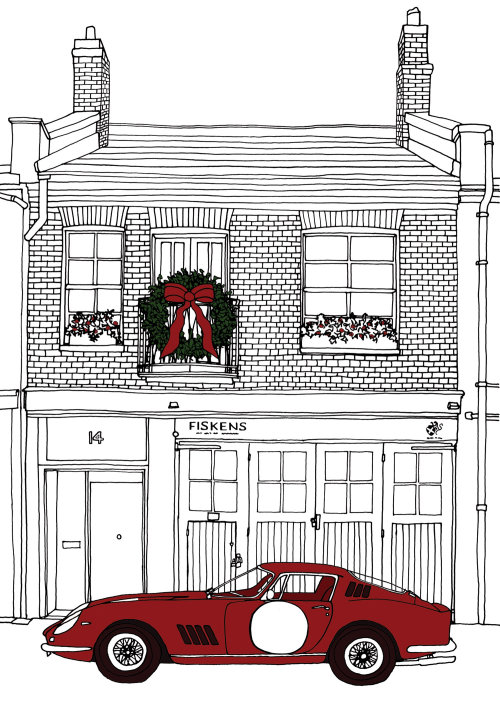 Black and White Christmas decorated house with vintage car