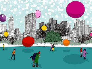 People having fun in winters in new York city