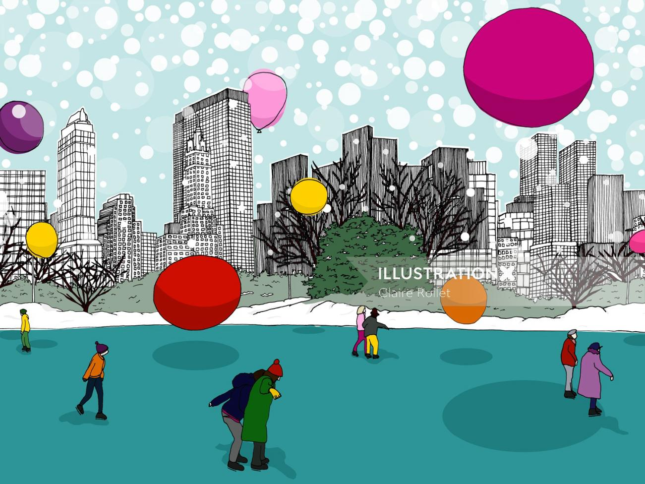 People having fun in winters in new York city