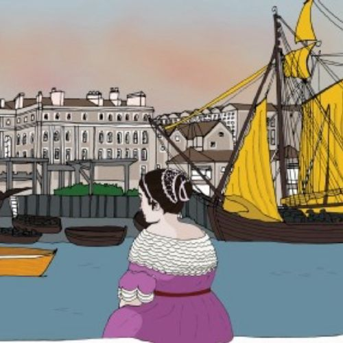 Elizabeth Pepys at harbour - Illustration by Claire Rollet
