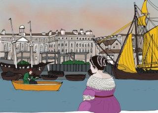 Elizabeth Pepys at harbour - Illustration by Claire Rollet