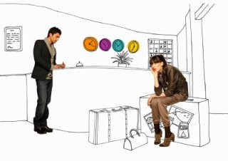 Couple waiting at hotel reception , illustration by Claire Rollet