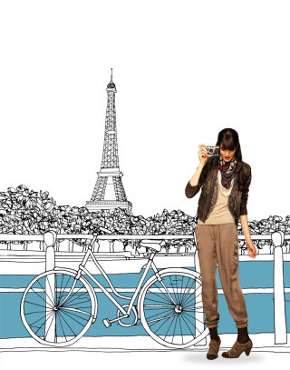 Lady with bicycle at eiffel tower - Illustration by Claire Rollet