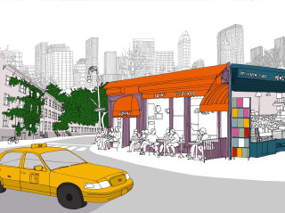 Modern Greenwich Village New york - Architectural illustration by Claire Rollet