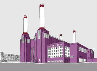 Battersea power station illustration by Claire Rollet