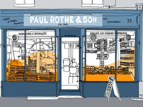 Traditional ink drawing Paul Rothe shop