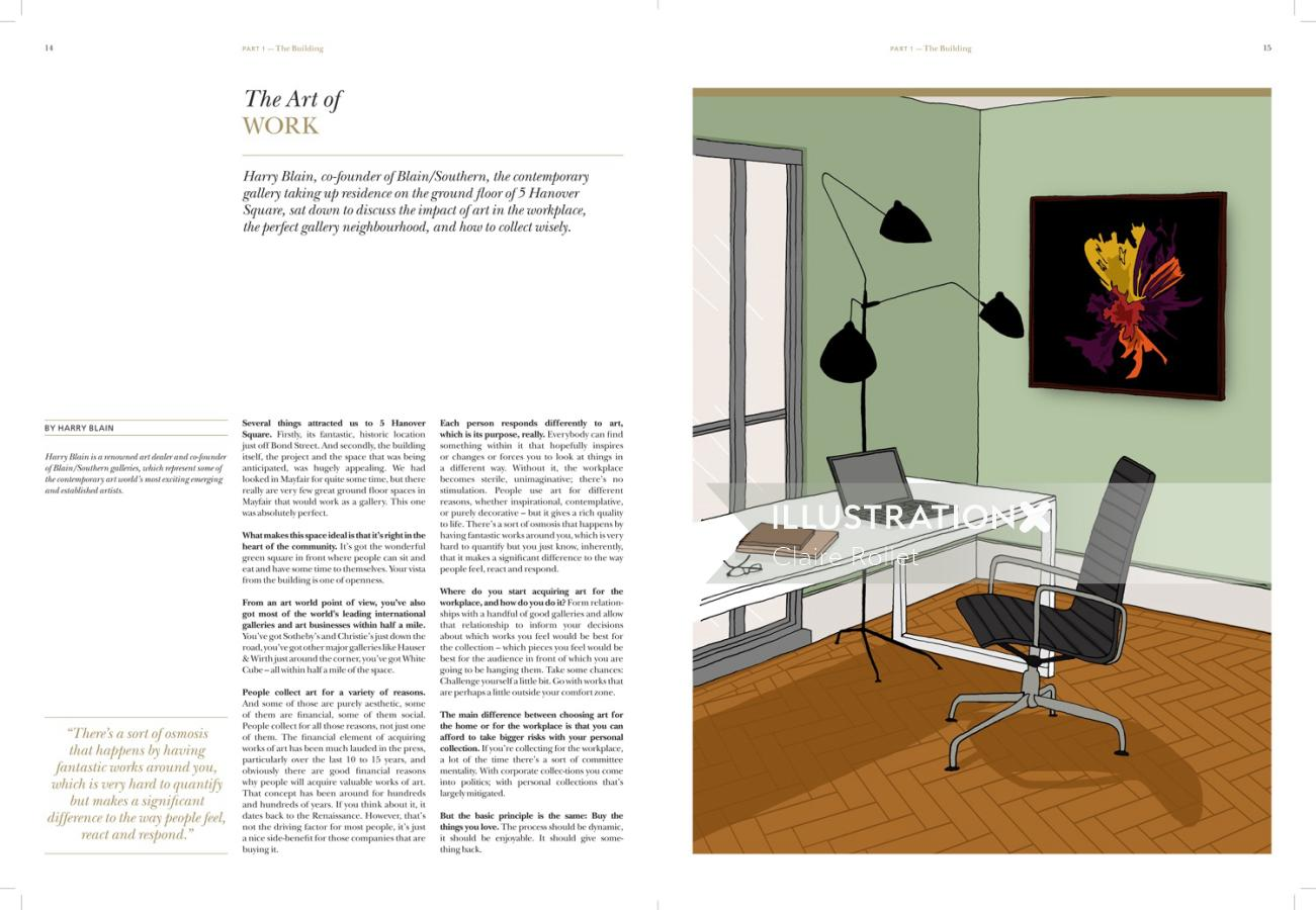 Square offices illustration by Claire Rollet