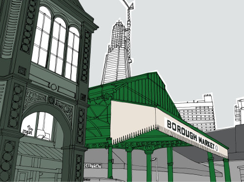 Borough market shard illustration by Claire Rollet