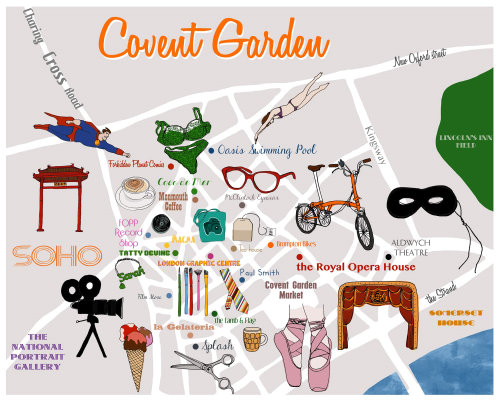 Covent garden London central shopping  - An illustration by Claire Rollet