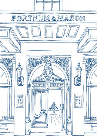 Line Drawing Of Fortnum & Mason Shop