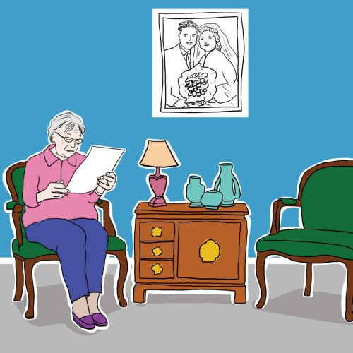 Illustration of old lady reading letter