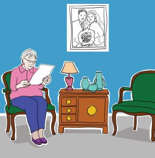 Illustration of old lady reading letter
